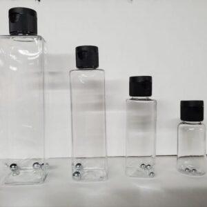 Empty plastic paint bottles